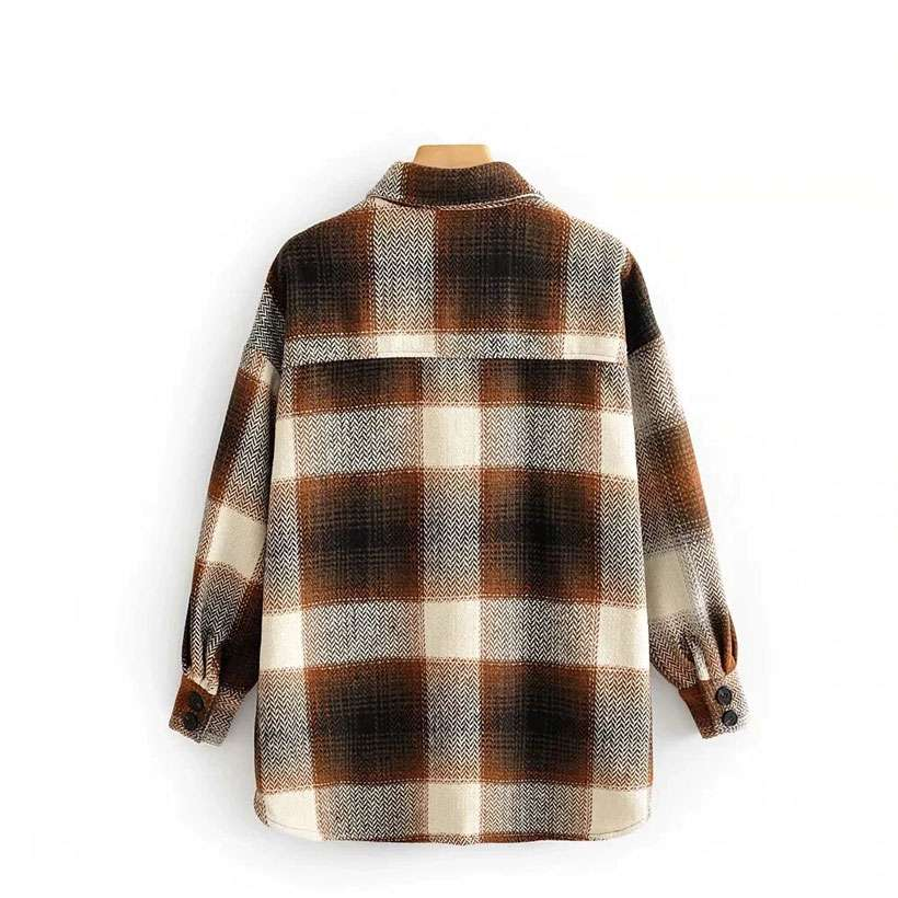 Women's Vintage Long Sleeve Woolen Coats Thick Plaid Jacket - Shop Electronics, Fashion, Beauty, Home & Garden & More @Nesavastore