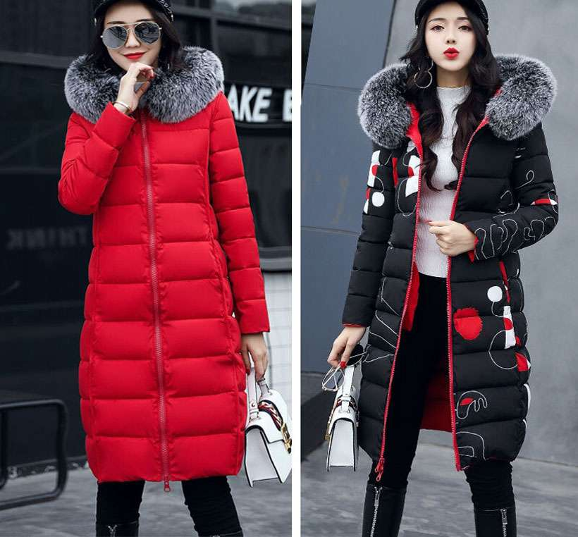 Women Hooded Coat Fur Collar Thicken Warm Long Jacket - Shop Electronics, Fashion, Beauty, Home & Garden & More @Nesavastore