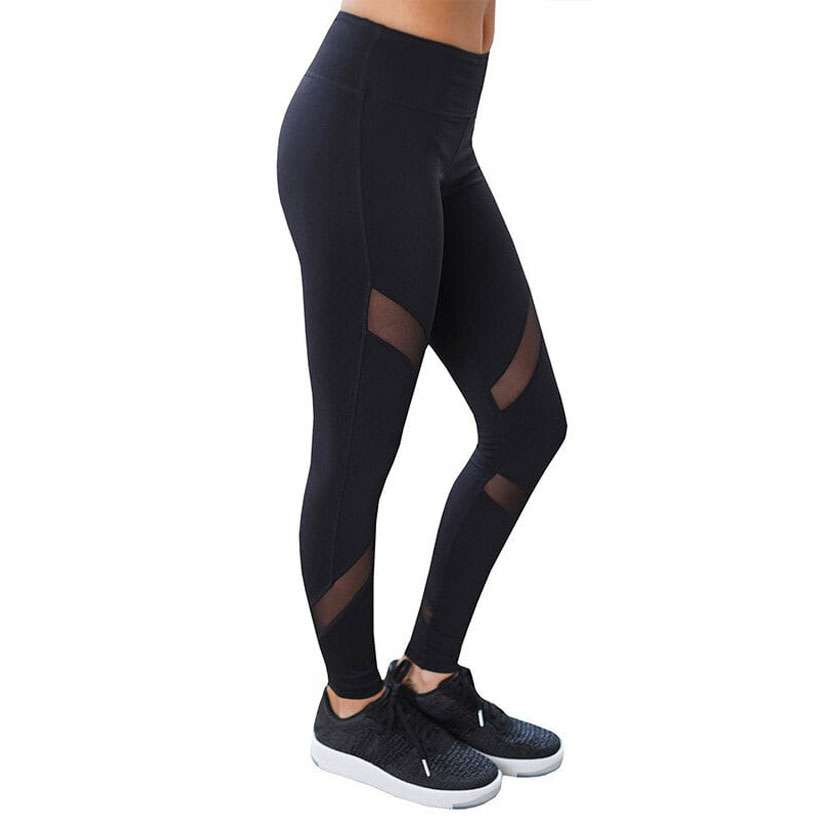 CHRLEISURE Women Mesh Design Sexy Leggings