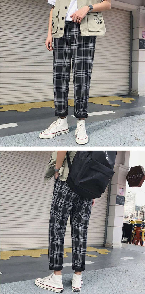 Unisex Streetwear Yellow Plaid Joggers- Shop Electronics, Fashion, Beauty, Home & Garden & More @Nesavastore