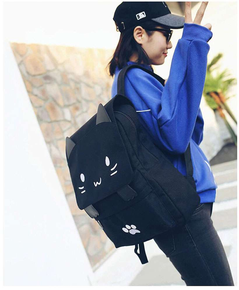 Women Cute Cat Canvas Cartoon Embroidery Backpack - Shop Electronics, Fashion, Beauty, Home & Garden & More @Nesavastore