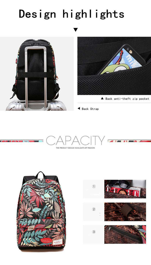 Unisex USB Charging Printing Backpack - Shop Electronics, Fashion, Beauty, Home & Garden & More @Nesavastore