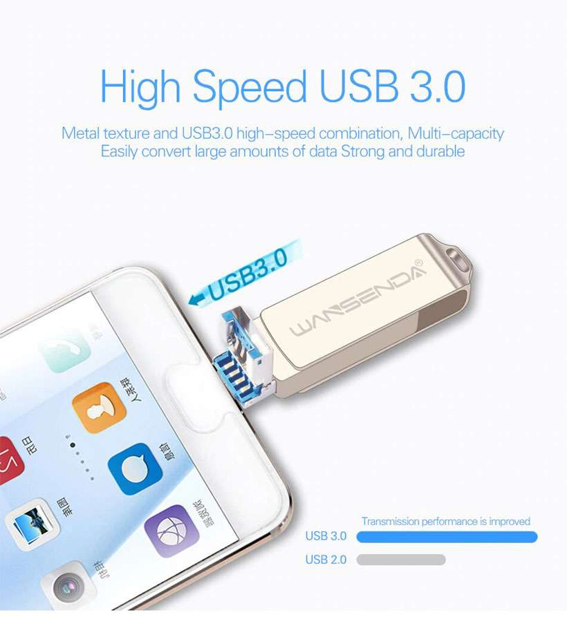 OTG USB3.0 3 in 1 High-Speed USB Pen Drive - Shop Electronics, Fashion, Beauty, Home & Garden & More @Nesavastore