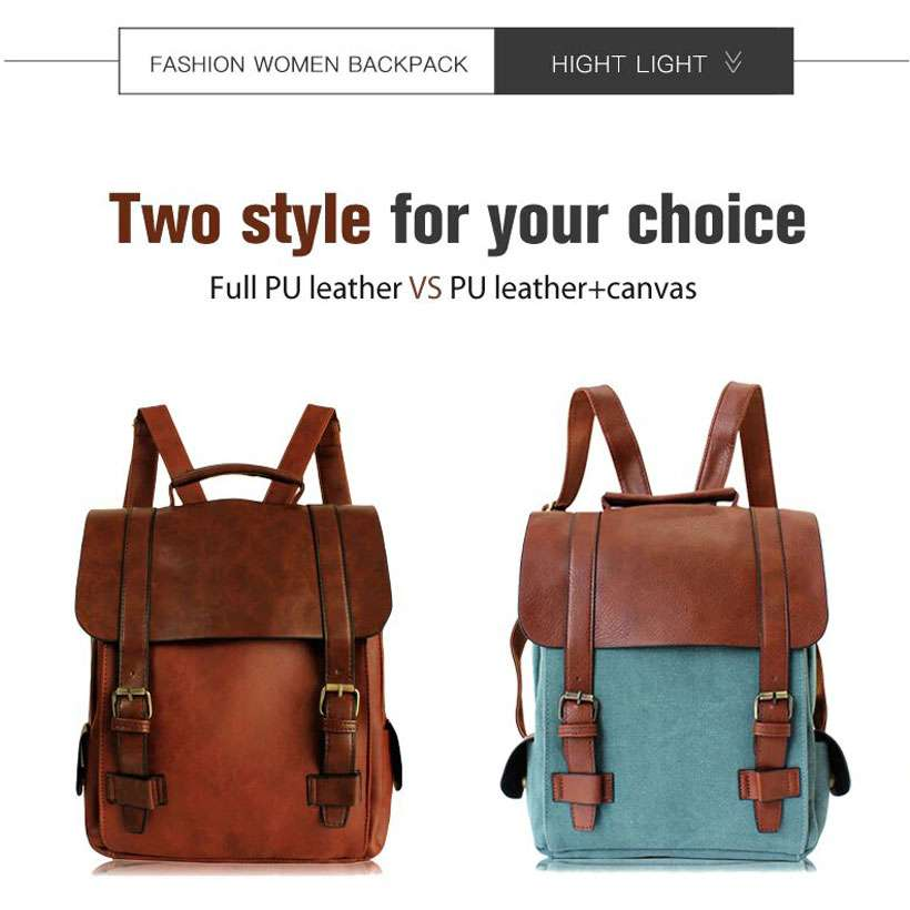 Women Leather School Bag Vintage Large Backpack - Shop Electronics, Fashion, Beauty, Home & Garden & More @Nesavastore