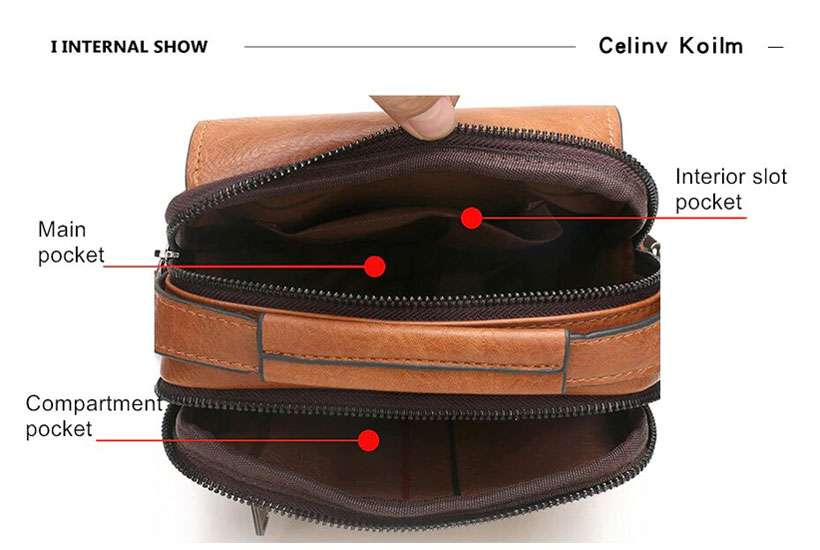 Men's Leather Crossbody Shoulder Bag