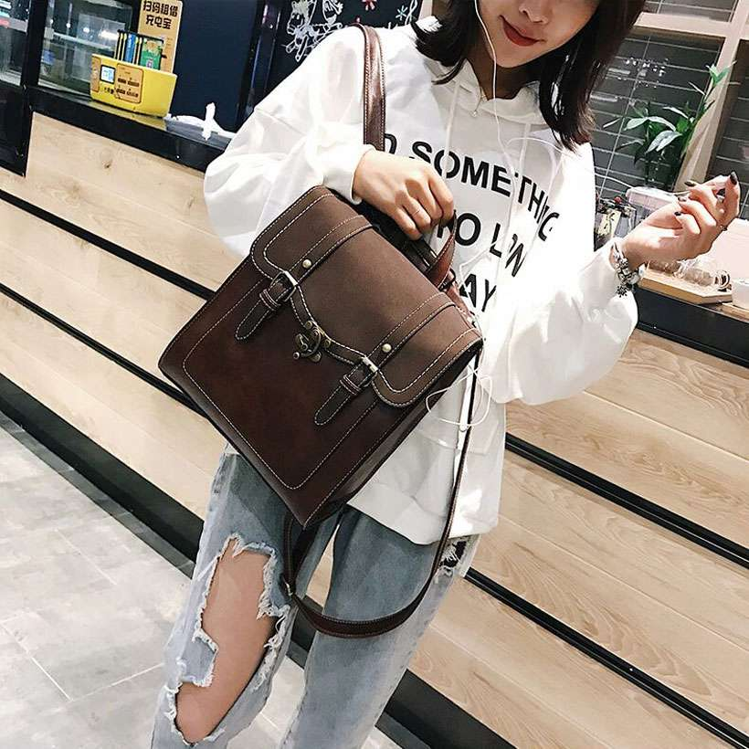 Women High-Quality Leather Multifunction Backpack - Shop Electronics, Fashion, Beauty, Home & Garden & More @Nesavastore