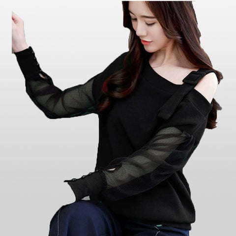 Women Long Sleeve blouses sexy off shoulder top