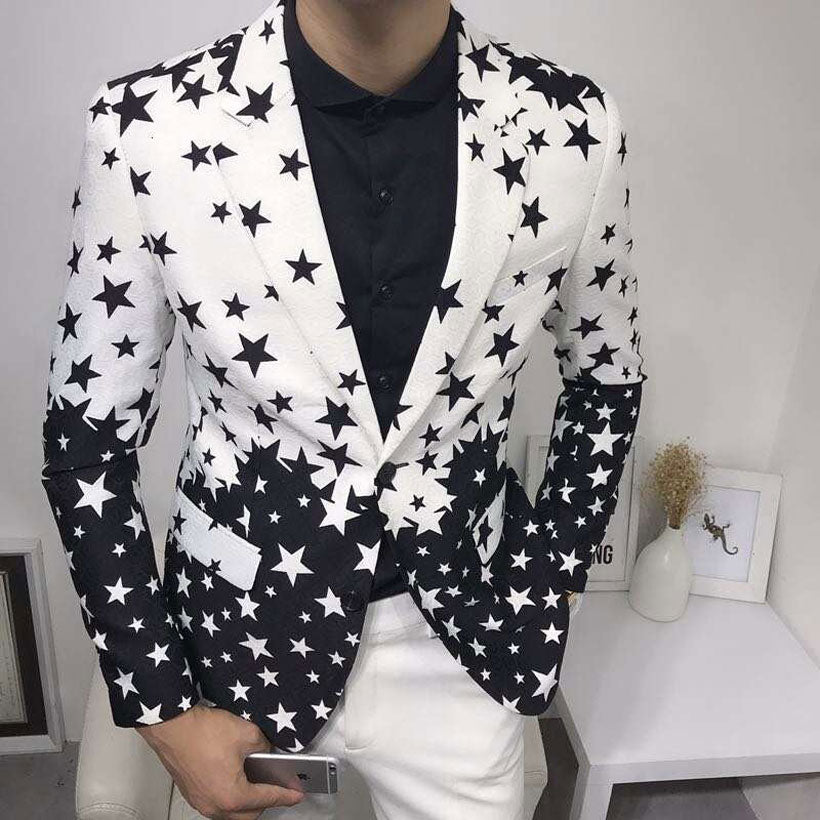Men's Slim Fit Printed Blazer Jacket One Button Suit