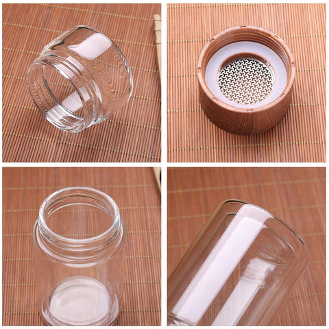 Smart Glass Water Bottle Separation With Tea Infuser Filter 200ml