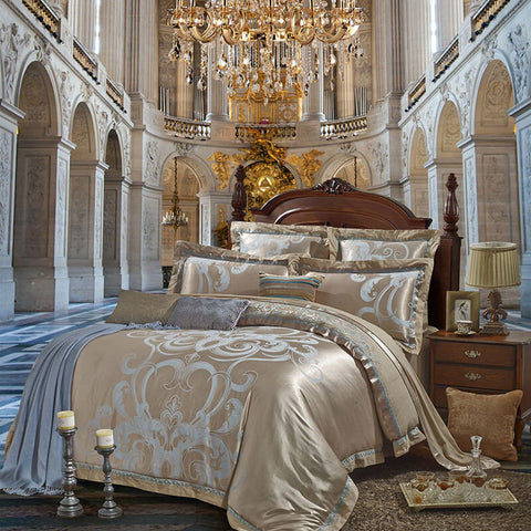 Luxury Silk Satin Jacquard Embroidery Bedding Set - Fashion, Beauty, Home & Garden & More @Nesavastore