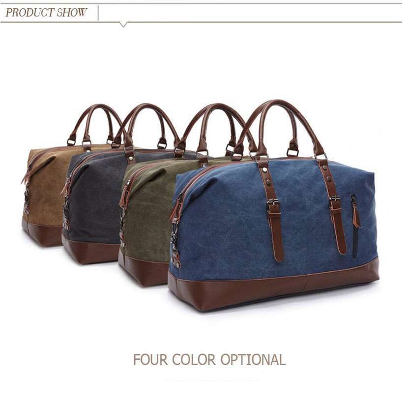 Leather Travel Duffle Bag, Canvas Leather Bag