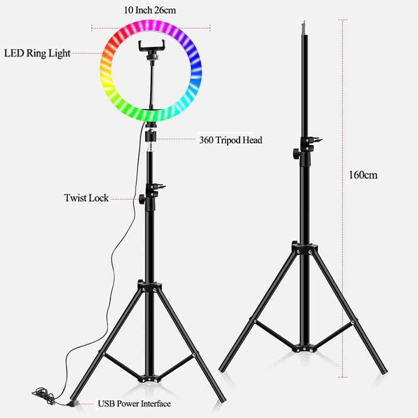 16 Colors RGB Ring Light with Adjustable Tripod - Fashion, Beauty, Home & Garden & More @Nesavastore