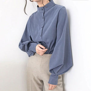 Women's Big Lantern Sleeve Solid Vintage Blouse - Fashion, Beauty, Home & Garden & More @Nesavastore