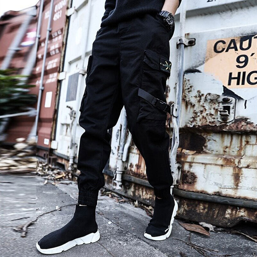 Men's Streetwear Ribbons Cotton Slim Joggers - Nesavastore