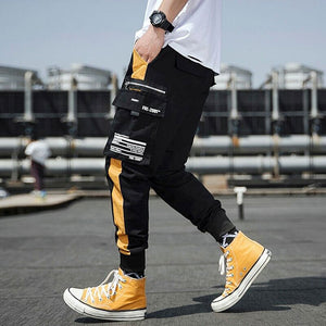 Men's Streetwear Ribbons Cotton Slim Joggers  -Shop Electronics, Fashion, Beauty, Home & Garden & More @Nesavastore