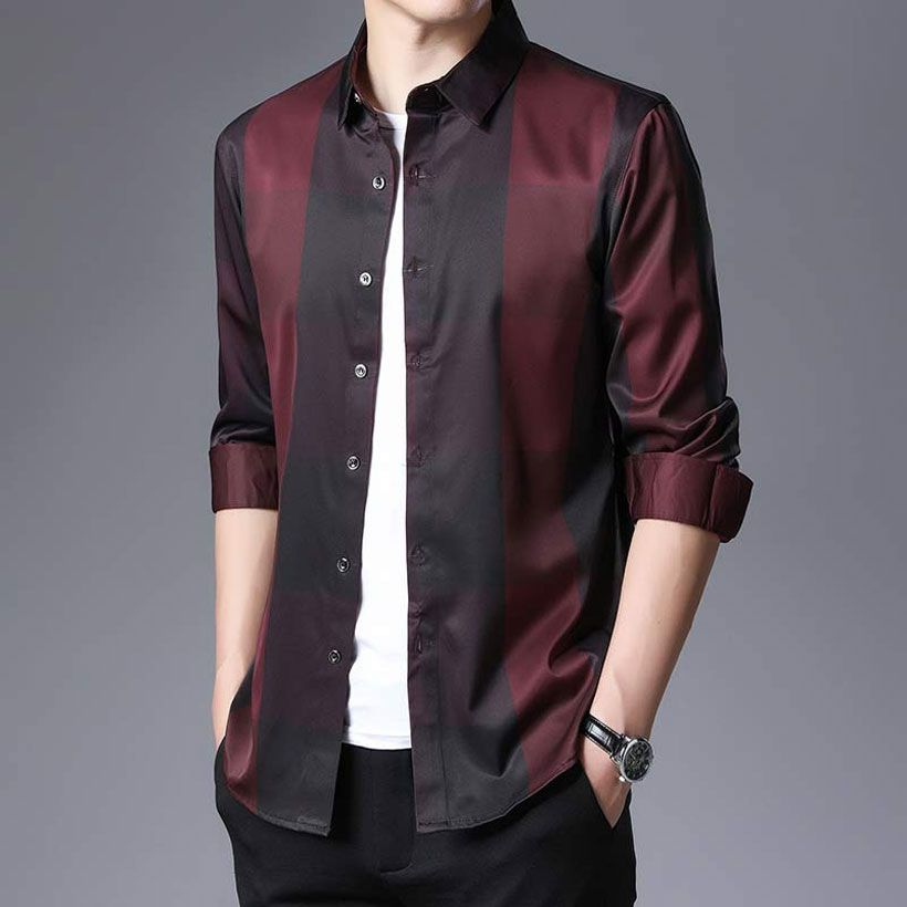 Men's Plaid Dress Shirts Long Sleeve Slim Fit Casual Top - Fashion, Beauty, Home & Garden & More @Nesavastore