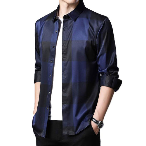Men's Plaid Dress Shirts Long Sleeve Slim Fit Casual Top