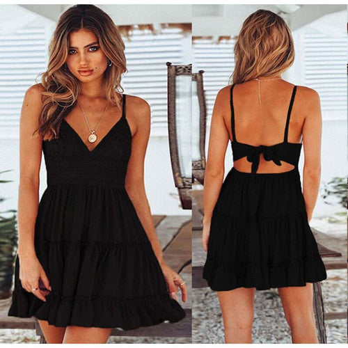 Women's Lace Sexy Backless V-neck Beach Dresses  -Shop Electronics, Fashion, Beauty, Home & Garden & More @Nesavastore