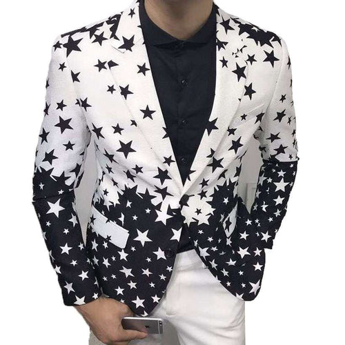 Men's Slim-Fit Printed One-Button Blazer - Shop Electronics, Fashion, Beauty, Home & Garden & More @Nesavastore