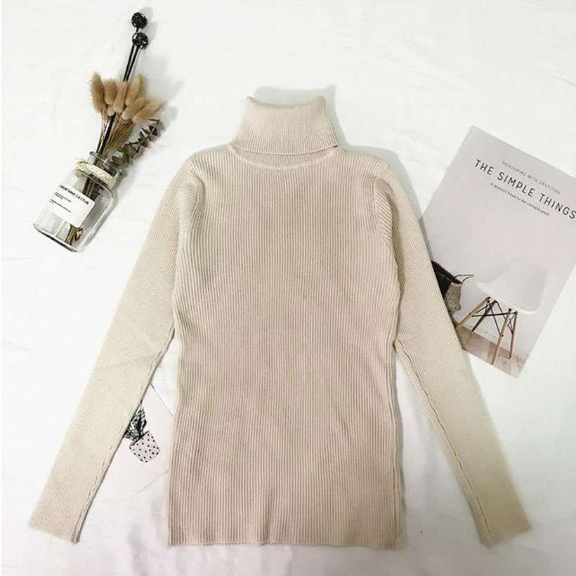 Women's Turtleneck Thin Pullover Jumper Knitted Sweater  -Shop Electronics, Fashion, Beauty, Home & Garden & More @Nesavastore