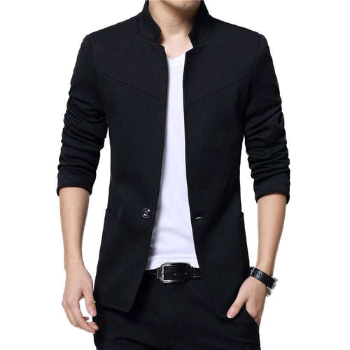 Men's Stand Collar Slim Fit Blazer - Nesavastore