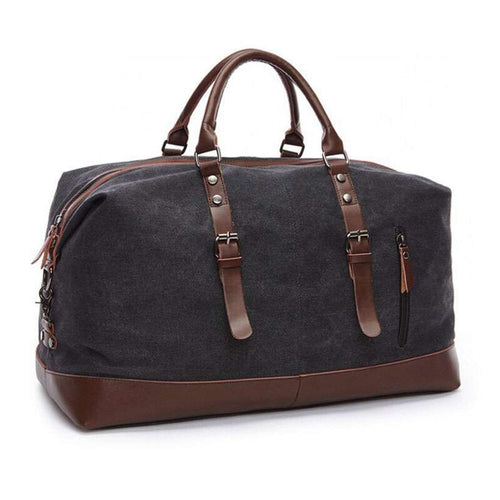 Large Capacity Canvas Leather Vintage Travel Duffle Bag - Nesavastore