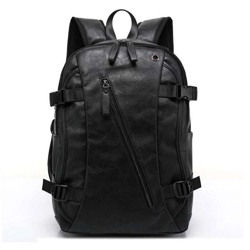Men's Oil Wax Leather Casual Backpack - Nesavastore