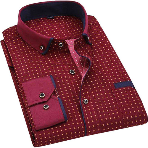 Men Casual Long-Sleeved Printed Slim Fit Shirt - Nesavastore