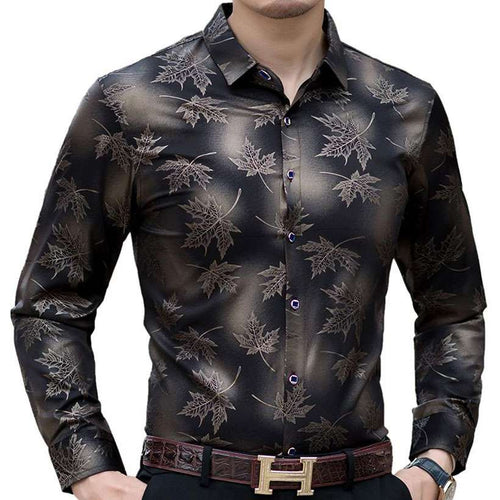 Men's Long Sleeve Maple Leaf Slim Fit Shirt  -Shop Electronics, Fashion, Beauty, Home & Garden & More @Nesavastore