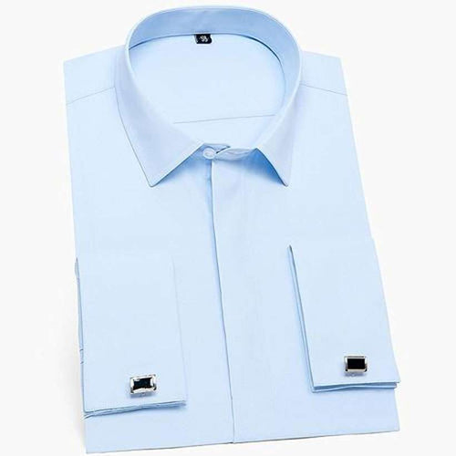 Men's French Cuff Dress Shirts - Nesavastore