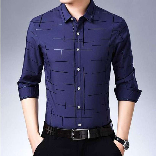 Men's Casual Plaid Long Sleeve Slim Fit Shirt - Nesavastore