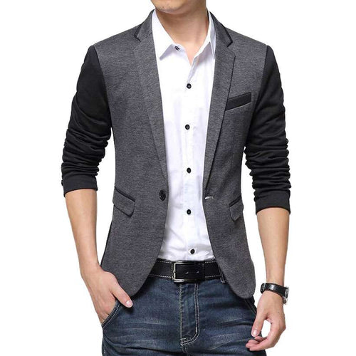 Men's Slim Fit Sport Coat One Button Blazer - Nesavastore