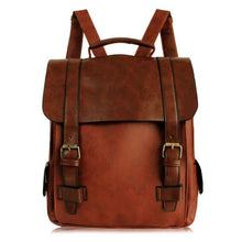 Load image into Gallery viewer, Women Leather School Bag Vintage Large Backpack - Nesavastore