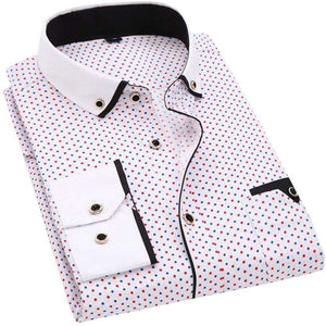 Men Casual Long-Sleeved Printed Slim Fit Shirt  -Shop Electronics, Fashion, Beauty, Home & Garden & More @Nesavastore