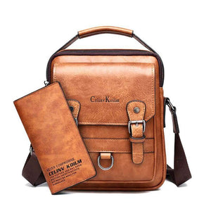 Men's Multi-function Leather Shoulder Bags - Nesavastore