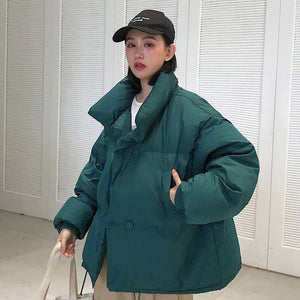 Women Korean Style Collar Down Coat Loose Jacket  -Shop Electronics, Fashion, Beauty, Home & Garden & More @Nesavastore