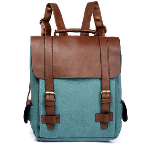 Women Leather School Bag Vintage Large Backpack - Nesavastore