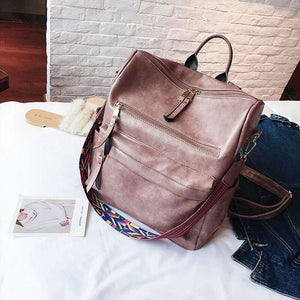 Women Leather Rucksack Knapsack Travel Backpack - Nesavastore