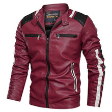 Load image into Gallery viewer, Men's Motorcycle Slim Leather Jacket - Nesavastore