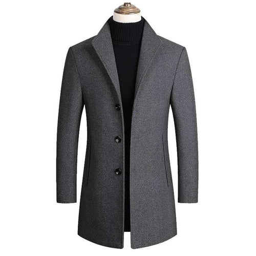 Men's Blends Coats Solid Color Wool Jacket  -Shop Electronics, Fashion, Beauty, Home & Garden & More @Nesavastore