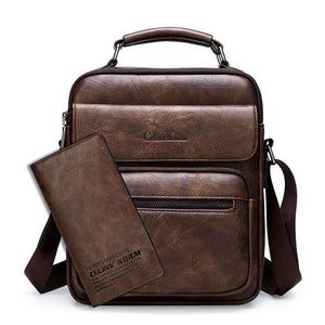 Men's Leather Crossbody Shoulder Bag - Nesavastore