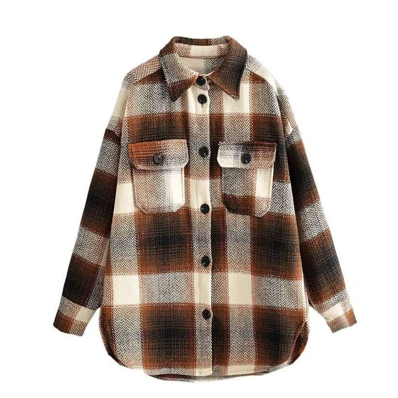 Women's Vintage Long Sleeve Woolen Coats Thick Plaid Jacket - Nesavastore