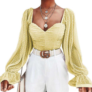 Women's Lantern Sleeve Ruched Blouse  -Shop Electronics, Fashion, Beauty, Home & Garden & More @Nesavastore