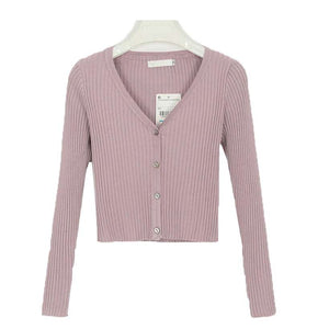 Women Sexy Buttons Knitted Cardigan Sweaters - Nesavastore
