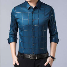 Load image into Gallery viewer, Men's Casual Spring Luxury Plaid Slim Fit Shirt - Nesavastore