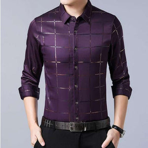Men's Casual Spring Luxury Plaid Slim Fit Shirt - Nesavastore
