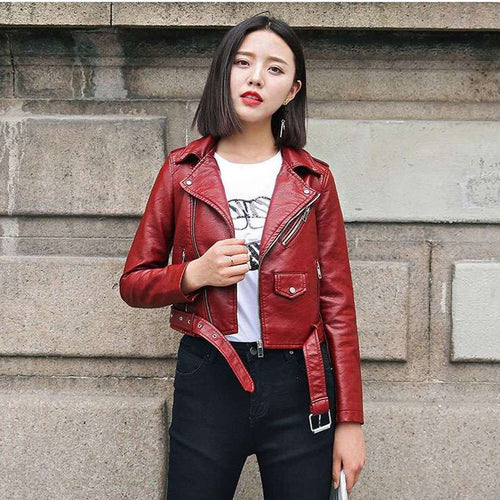 Women's Leather Bright Motorcycle Coat Jacket  -Shop Electronics, Fashion, Beauty, Home & Garden & More @Nesavastore