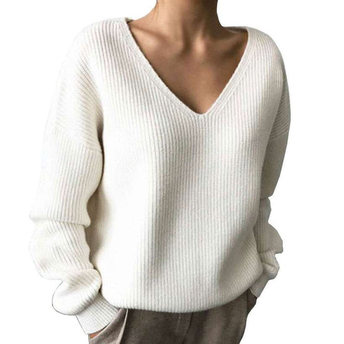 Women's V-Neck Minimalist Fashionable Irregular Sweaters  -Shop Electronics, Fashion, Beauty, Home & Garden & More @Nesavastore