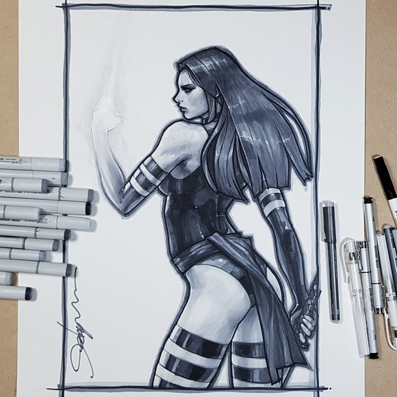 Psylocke Sketch Art Paper 11 x 17 Signed Jeehyung Lee X-Men