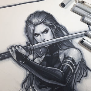 Psylocke Sketch Art Paper 11 x 17 Signed Jeehyung Lee